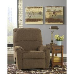 Pranit Wall Hugger Recliner In Chenille Walnut - Flash Furniture, Brown Wall Hugger Recliners, Chenille, Smart Design, Reclining Sofa, Signature Design, Wall Design, Family Room, Upholstery, Relax