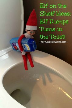 Elf on the Shelf Ideas: Elf Dumps Tums in the Toilet! #elfontheshelf #elfshelf #christmas