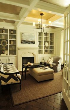 Beckwith Interiors: Beautiful living room design with ivory walls paint color, coffered ceiling, Bryant ...