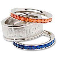 Florida Gators Logo Crystal Stacked Ring Set