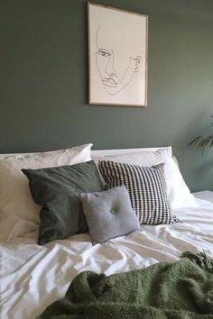 Bedroom Wall Decoration Ideas - Home Decor Ideas Bedroom Green, Home Bedroom, Bedroom Decor, Green Bedrooms, Master Bedroom, Wall Decor, Scandinavian Interior Design, My New Room, Interior Design Living Room