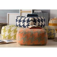 Hand Crafted Bryant Houndstooth 24-inch Large Square Pouf - Overstock™ Shopping - Great Deals on Ottomans