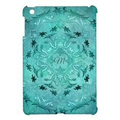 Ethnic floral turquoise grunge mandala. monogram. iPad mini cases - retro gifts style cyo diy special idea