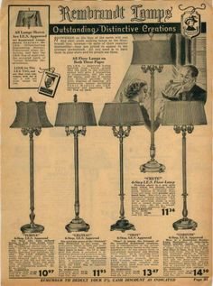 1939 ADVERTISEMENT Rembrandt Lamps Corinth Troy Chateau Temple