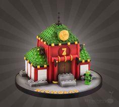 Lego Ninjago Temple Cake by Little Cherry Bolo Ninjago, Lego Ninjago Cake, Ninjago Party, Lego Cake, Batman Birthday, 5th Birthday, Birthday Ideas, Single Tier Cake, Batman Cakes