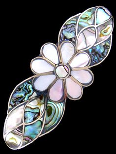 Eight-Petal Daisy Hair BarrettePacific Blue Abalone Shell (haliotis) and Mother of Pearl (Nacre Shell) Inlay set in German Silver ( alpaca alloy) with Fine Silver Overlay (silver plated)Hair Ornament