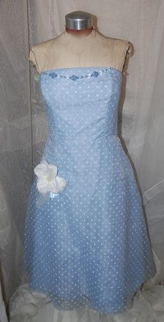 Party Flowing Fun Embellished Blue with White by Ramblinrose67, $35.00