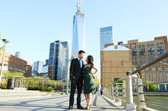 Engagement Photoshoot in Tribeca, New York | Cute couple on the west-side with the new World Trade Tower on the background | Boston & New York Wedding Photography by Anna Rozenblat | www.AnnasWeddings.com
