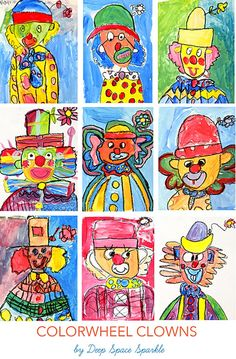 Colorwheel clown drawing and color wheel art lesson Color Wheel Projects, Art Projects, Clowns, Color Wheel Art, 2nd Grade Art, Second Grade, Clown Paintings, Deep Space Sparkle, Circus Art