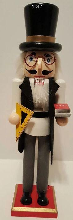 "Teacher Nutcracker Professor Wooden 15"" Christmas Gift Holiday Decorative NEW"