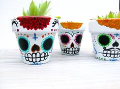 Dia de los Muertos inspired Planter with succulent by MayhemHere, $18.00