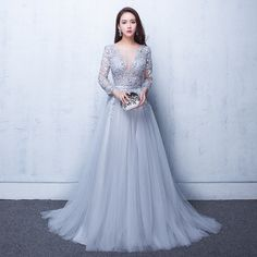 2018 Evening Dresses 3/4 Sleeves Appliques Silver Formal Gown Long Evening Party Dress