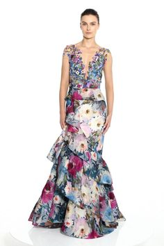 Marchesa Couture Floral Printed Cap Sleeve Gown In Gardenia Marchesa Fashion, Marchesa Gowns, Beautiful Dresses, Nice Dresses, Summer Dresses, Long Dresses, Dressy Dresses, Floral Dresses, Club Dresses