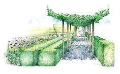 The Laurent-Perrier Garden by Luciano Giubbilei at Chelsea Flower Show 2009 Landscape Artwork, Landscape Drawings, Landscape Illustration, Fantasy Landscape, Landscape Designs, Landscapes, Laurent Perrier, Mulch Landscaping, Landscaping Ideas