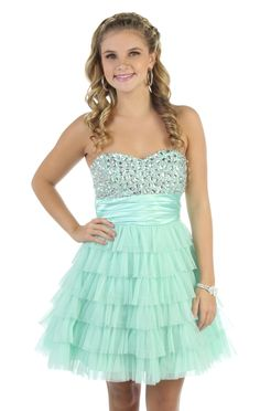 strapless jewel short prom dress with tiered cupcake skirt - debshops.com WANT!