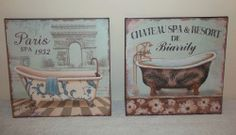ASSORTED SHABBY CHIC VINTAGE FRENCH PARIS STYLE BATHROOM WALL SIGN PLAQUE GIFT