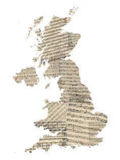 Great Britain Old Music Sheet Map - Wall Mural & Photo Wallpaper - Photowall