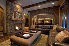 21 Amazing Rustic Living Design-The Rustic interior design is all about nature. Woods, Stones, wrought iron, natural fabrics and metals are used for the rustic designs.checkout our collection of 21 Amazing Rustic Living Design Ideas. Basement Living Rooms, Modern Basement, Basement Ideas, Rustic Basement, Rustic Room, Rustic Decor, Bedroom Rustic, Rustic Design, Rustic Family Rooms