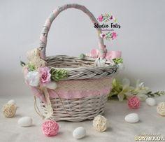 Купити Дитячий пасхальний кошик та рушничок у ніжно рожевих кольорах в Україні