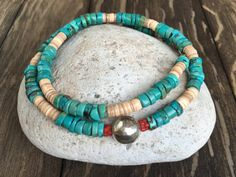nevada turquoise and heshi necklace by dancingbluestone on Etsy