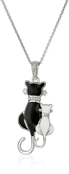 Sterling Silver Diamond Accent Enamel Cat Pendant Necklace, 18' ** You can find out more details at the link of the image.