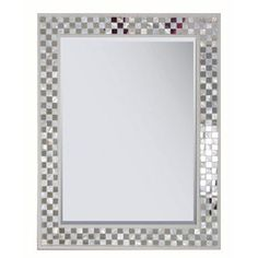"""28""""L x 22""""W Rectangle Framed Mirror        Real mother of pearl and mirror mosaic        Cream painted wood frame        Beveled mirror        Hanging hardware attached        Hangs vertical or horizontal  $54.98"""
