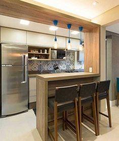 Kitchen Bar Design, Kitchen Lighting Design, Apartment Kitchen, Home Decor Kitchen, Kitchen Base Cabinets, Kitchen Wall Shelves, Open Kitchen And Living Room, Modern Kitchen Interiors, Small Apartment Design
