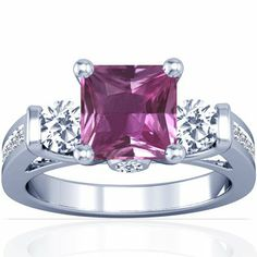 14K White Gold Princess Cut Pink Sapphire Ring With Sidestones  - **CLICK HERE TO SEE DETAILS - http://www.perfect-gift-store.com/sapphire-rings-for-women.html