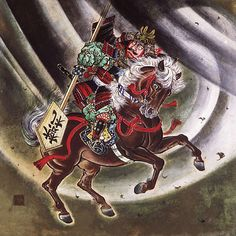 "Watanabe no Tsuna (953-1025) He is one person among four generals of subordinate of Minamoto no Yorimitsu. The scene to which he cut down the arm of the ghost woman in ""Rajomon"" gate is drawn in this picture."
