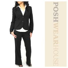 """Black 2 Piece Suit Jacket & Flat Front Trouser New condition • Fully lined • Lightly padded shoulders • Working flat front pockets • Notched lapel • Jacket measurements - Length 23"""" • Bust 30""""-34"""" • Waist 30"""" • Shoulders (inseam to inseam) 15"""" • Sleeve (underarm to wrist) 17.5"""" • Pant measurements - Length 39.5"""" • Waist 32"""" • Inseam 30"""" • Wool, Spandex & Polyester (lining) • Sized 4, fits Best on a 8  Like what you see? Follow me! On PM @PoshWearHouse  On IG www.instagram.com/PoshWearHouse…"""