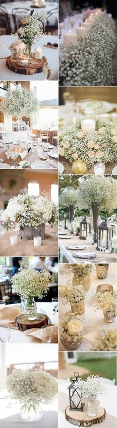 This cloud-like, budget-friendly filler flower that goes by the name of gypsophila paniculata or simply gypsophila, has been taking over wedding decorations by storm. It comes as no surprise as it can be used for rustic weddings, vintage or industrial wed Budget Wedding, Wedding Themes, Wedding Table, Fall Wedding, Wedding Planning, Wedding Decorations, Wedding Ideas, Blush Wedding Centerpieces, Gypsophila Wedding