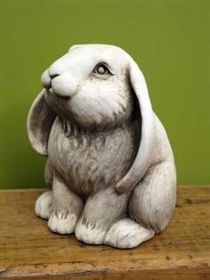 $50 Frenchy Bunny -- Carruth Studio: Lop eared bunnies are always the best! With Frenchy around, every garden setting becomes a peaceful place. Place this sculpture on a step or corner of the deck. It makes a fun gift for gardeners.  Made in U.S.A. Individually Gift-boxed  Weight: 5.00 Dimensions: 6.00 x 4.50 x 5.00 Composition: Hand Cast Stone