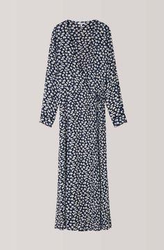 Roseburg Crepe Wrap Dress, Total Eclipse