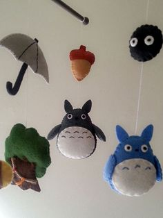 Baby crib mobile forest mobile #totoro by Feltnjoy