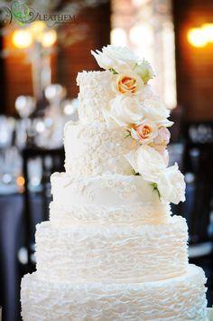 Amy Beck Cake Design - Chicago, IL - 5 Tier lace and ruffle Fondant wedding cake #amybeckcakedesign photo by Leatham Photography