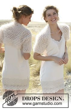 Knitted DROPS bolero with lace pattern in Vienna or Melody. Size: S to XXXL. Free pattern by DROPS Design.