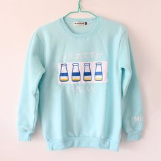 "Harajuku fashion milk sweatshirt, S M L size $25.00 Unique cute kawaii fashion clothing & shoes & accessories online store. Style:japanese  Color:sky blue   Size:S.M.L  S:  Bust:100cm/39.37"".shoulder:47cm/18.50"".length:63cm/24.80"".sleeve length:62cm/24.40""  M:  Bust:105cm/41.33"".shoulder:48cm/18.89"".length:66cm/25.98"".sleeve length:63cm/24.80"" L:  Bust:110cm/43.30"".shoulder:50cm/19.68"".length:70cm/27.55"".slee..."