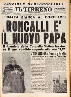 L Tirreno, 28 Ottobre 1958 Newspaper Headlines, Old Newspaper, Vintage Posters, Vintage Photos, Jfk Kennedy, Italian Posters, Journal, Color Photography, Old Pictures