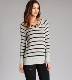 Stripes are always a classic......pair them with a leather pant for fall!