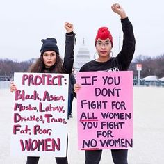 """Have you seen this photo before? This is Dana Suchow ( and Rachel Cargle ( at the 2017 Women's March in Washington, D. In Rachel's words, """"This photo of me at the women's march went viral and changed my activism forever. Feminist Af, Feminist Quotes, Racism Quotes, Feminist Apparel, Angst Quotes, Protest Signs, Protest Art, Power To The People, Intersectional Feminism"""