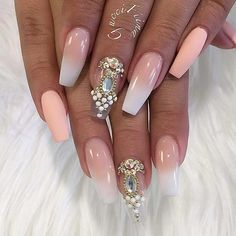 Ombre French Tip Coffin Nails with Rhinestones