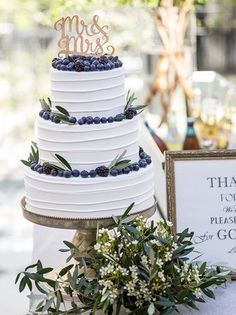 **THIS is what our cake will look like*** Mr. And Mrs. Wedding Cake Topper with blueberries