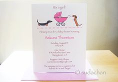 Dachshunds with Buggy.Carrier.Stroller.Pram Baby by sudachan, $17.50