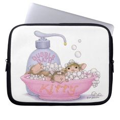 House-Mouse Designs - Cute bathing mice - Electronics Bag Laptop Computer Sleeve <3
