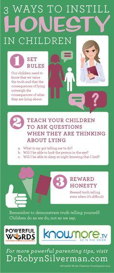 3 Ways to Instill Honesty in Children #Parenting #GreatTips #DrRobyn http://www.drrobynsilverman.com/ #selfdefenseinfographic