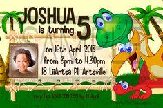 Dinosaur Childrens Birthday Invitations