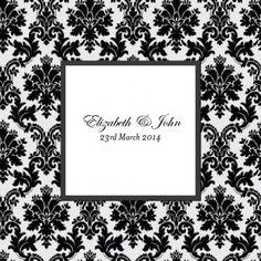 Layered Cascade Square Flat Wedding Invitation in Black  - DreamDay Invitations