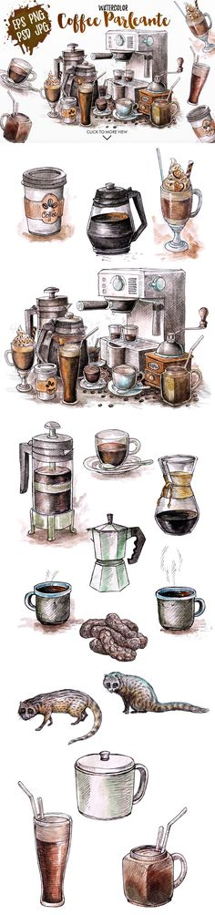 Watercolor Coffee Black Parleante by iGRAPHOBIA on @creativemarket
