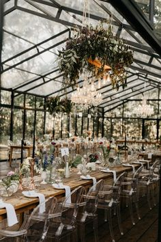 Sophisticated Bohemian Cape Town Wedding at Die Woud Long farmhouse tables, clear chairs, and plenty of greenery create a laid-back yet elegant style Wedding Table, Rustic Wedding, Diy Wedding, Ghost Chair Wedding, Fall Wedding, Farmhouse Wedding Venue, Bohemian Wedding Reception, Small Garden Wedding, Wedding Flowers