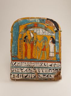 Painted wooden panel of Tabakenkhonsu  Period: Late Period, Kushite  Dynasty: Dynasty 25  Date: ca. 680–670 B.C.  Geography: From Egypt, Upper Egypt; Thebes, Deir el-Bahri, Temple of Hatshepsut, Hathor Shrine, pit in hypostyle hall, EEF 1894–1895  Medium: Wood, gesso, paint